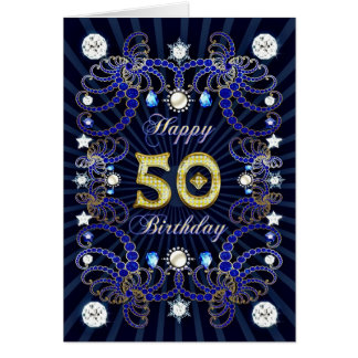 50th birthday card with masses of jewels