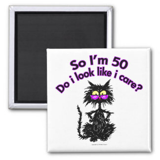 50th Birthday Cat 2 Inch Square Magnet