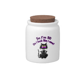 50th Birthday Cat Candy Jars