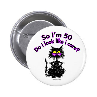 50th Birthday Cat Gifts Button