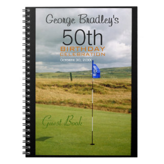 50th Birthday Celebration Golf Custom Guest Book Notebook