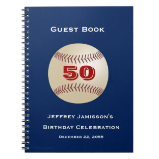 50th Birthday Celebration Guest Book, Baseball Note Books