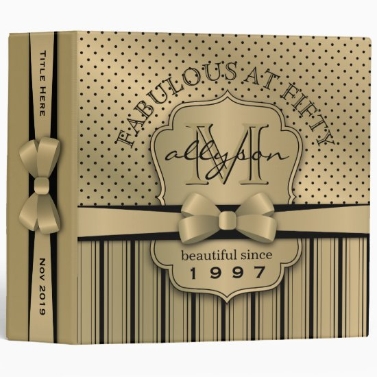 50th Birthday Champagne Gold Polka Dot Stripes Bow Binder