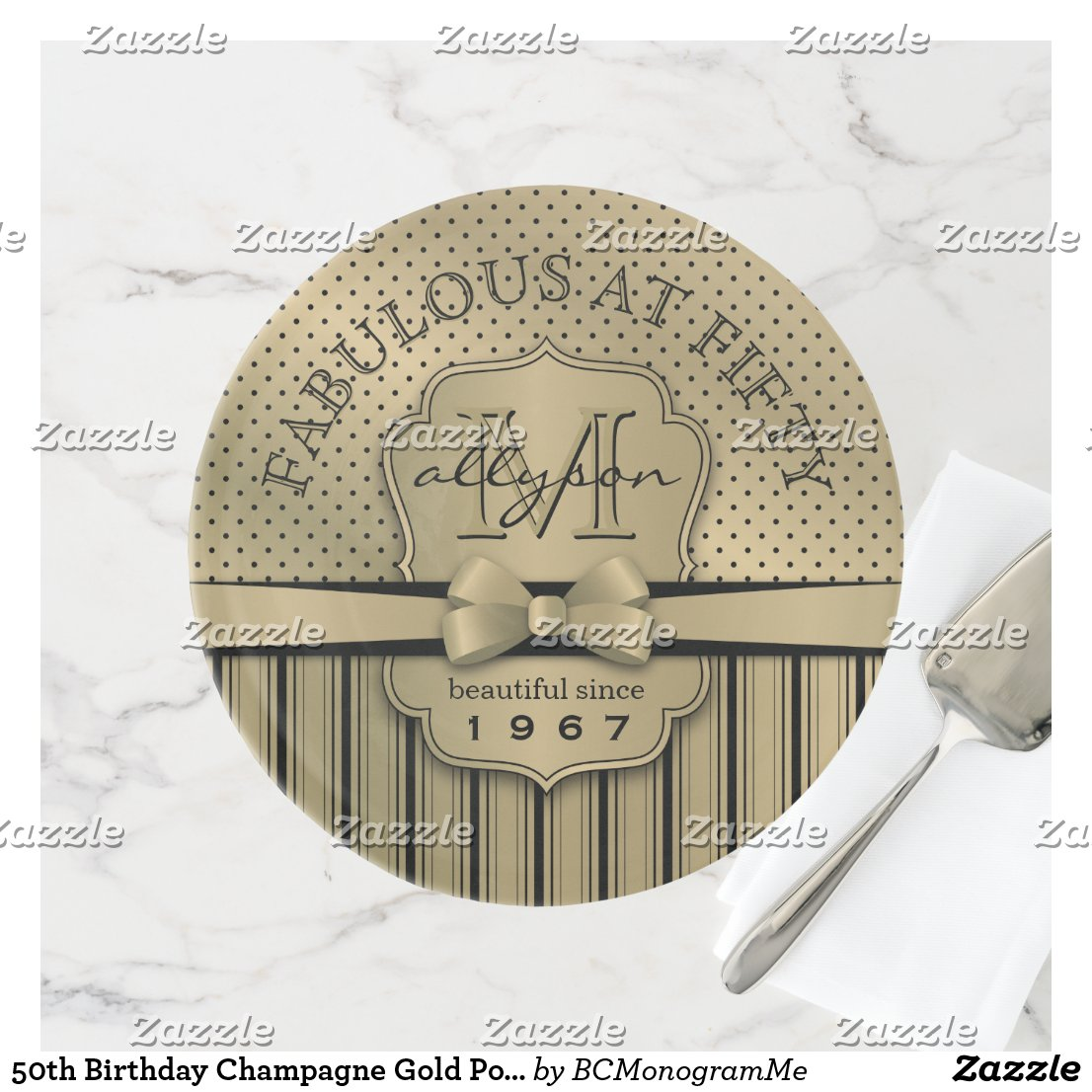 50th Birthday Champagne Gold Polka Dot Stripes Bow Cake Stand