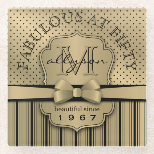 50th Birthday Champagne Gold Polka Dot Stripes Bow Glass Coaster