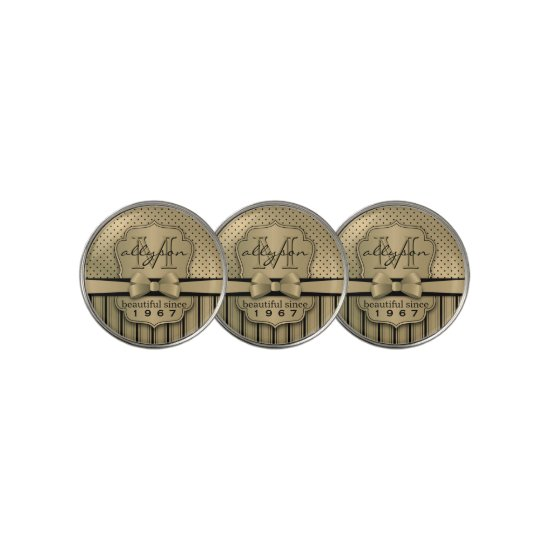 50th Birthday Champagne Gold Polka Dot Stripes Bow Golf Ball Marker