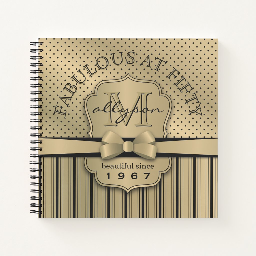 50th Birthday Champagne Gold Polka Dot Stripes Bow Notebook