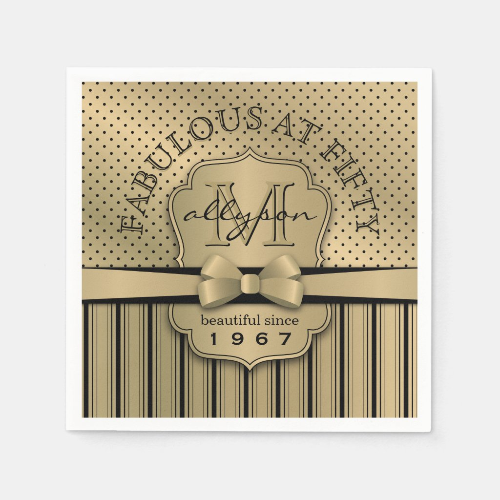 50th Birthday Champagne Gold Polka Dot Stripes Bow Paper Napkin