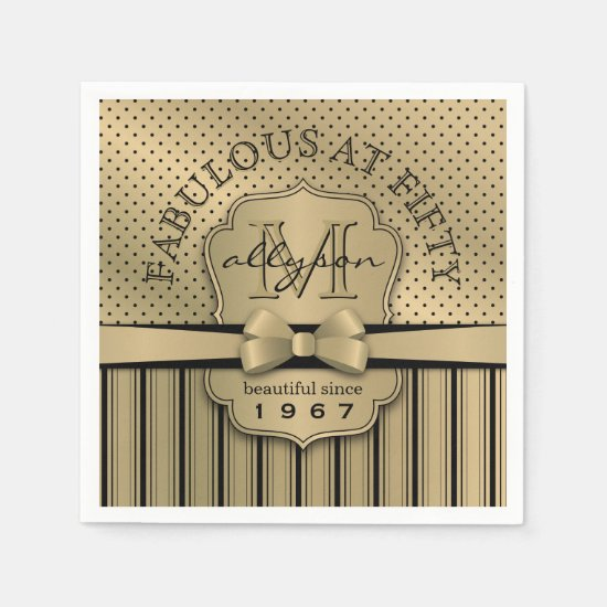 50th Birthday Champagne Gold Polka Dot Stripes Bow Paper Napkin