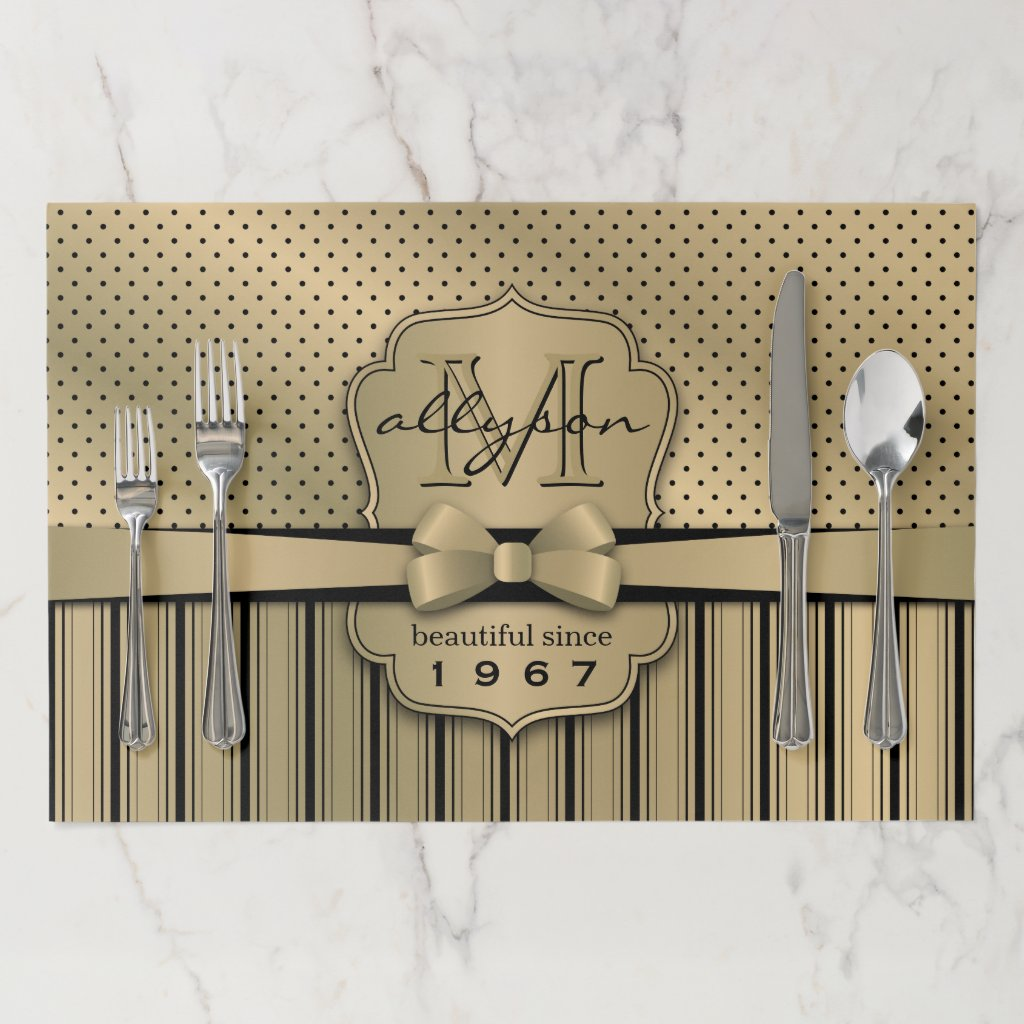 50th Birthday Champagne Gold Polka Dot Stripes Bow Paper Placemat