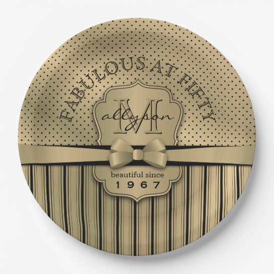 50th Birthday Champagne Gold Polka Dot Stripes Bow Paper Plate
