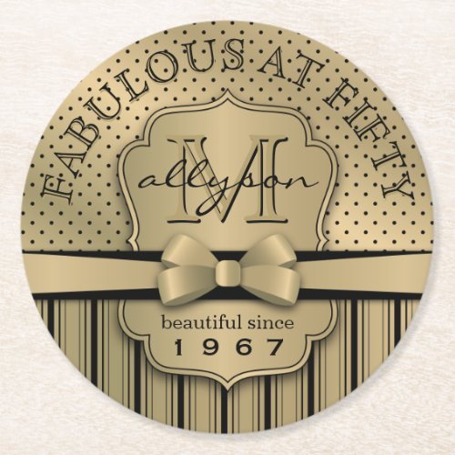 50th Birthday Champagne Gold Polka Dot Stripes Bow Round Paper Coaster