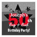 50th Birthday Charcoal and Red Grunge C50A Invitation