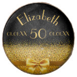 Hand shaped 50th birthday Chic golden bow with sparkle black Chocolate Dipped Oreo