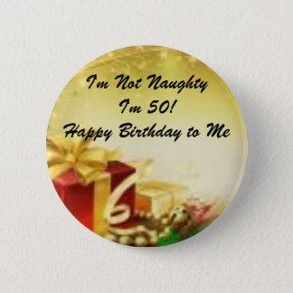 50th Birthday Christmas Pinback Button