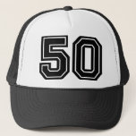 "50th Birthday Classic Trucker Hat<br><div class=""desc"">50th Birthday Hat with classic Black Number Fifty</div>"