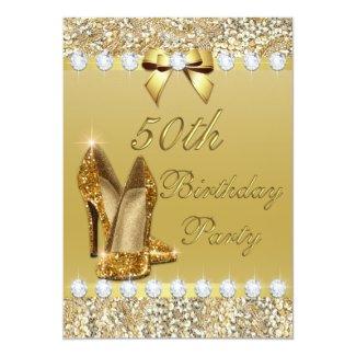 Adult party invitations womens birthday invites elegant invites 50th birthday classy gold heels sequins diamonds 5x7 paper invitation card filmwisefo