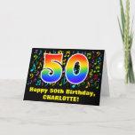 [ Thumbnail: 50th Birthday: Colorful Music Symbols & Rainbow 50 Card ]