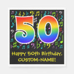 [ Thumbnail: 50th Birthday - Colorful Music Symbols, Rainbow 50 Napkins ]