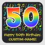 [ Thumbnail: 50th Birthday: Colorful Music Symbols, Rainbow 50 Sticker ]