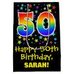 [ Thumbnail: 50th Birthday: Colorful Stars Pattern & Rainbow 50 Gift Bag ]