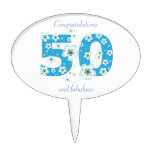 50th birthday congratulations blue flowers custom cake toppers
