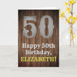 [ Thumbnail: 50th Birthday: Country Western Inspired Look, Name Card ]