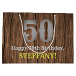 [ Thumbnail: 50th Birthday: Country Western Inspired Look, Name Gift Bag ]