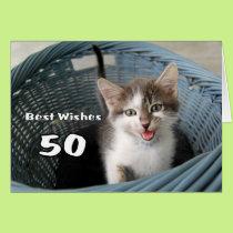 50th Birthday Crazy Kitten Card