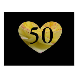 50th Birthday Cream Pink and Black Heart Postcard