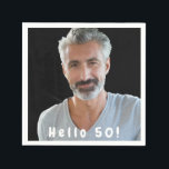 "50th birthday custom photo hello 50 for guys napkin<br><div class=""desc"">Template for Your photo.  White text overlay: Hello 50!  A napkin for a 50th birthday party for guys.</div>"