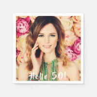 50th birthday custom photo hello 50 napkin