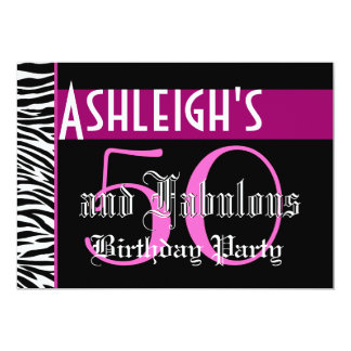 50th Birthday Custom Template - Zebra Pink Black 5x7 Paper Invitation Card
