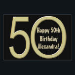 "50th Birthday Custom Yard Sign<br><div class=""desc"">Add your guest of honor&#39;s name to this personalized 50th birthday themed yard sign. Design features a black background with a big gold number 50 fifty. Great for a birthday party celebration. Make it now and order with no minimum. Great to tell guests where the party is at, and direct...</div>"