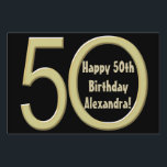 """50th Birthday Custom Yard Sign<br><div class=""""desc"""">Add your guest of honor&#39;s name to this personalized 50th birthday themed yard sign. Design features a black background with a big gold number 50 fifty. Great for a birthday party celebration. Make it now and order with no minimum. Great to tell guests where the party is at, and direct...</div>"""