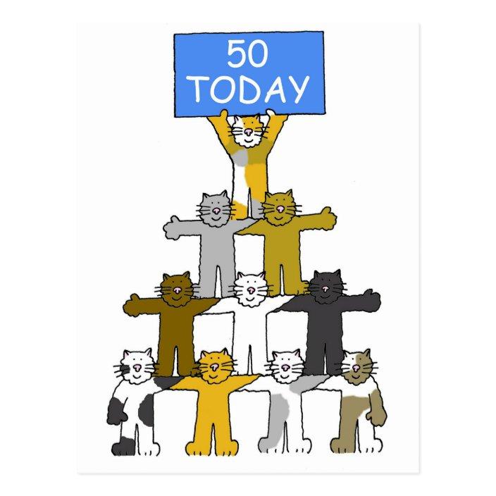50th Birthday Cute Cartoon Cats Postcard Zazzle Com