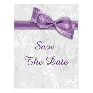 50th Birthday Damask and Faux Bow Save The Date Postcard
