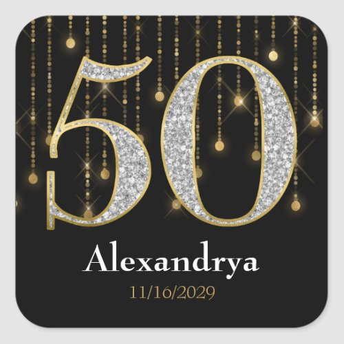 50th Birthday Diamonds Gold Thank You Favor Tags