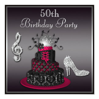 50th Birthday Disco Diva Cake and Heels Hot Pink 5.25x5.25 Square Paper Invitation Card