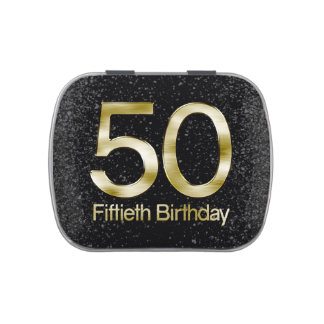 50th Birthday, Elegant Black Gold Glam Candy Tin