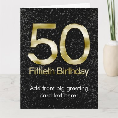 50th Birthday, Elegant Black Gold Glam Card