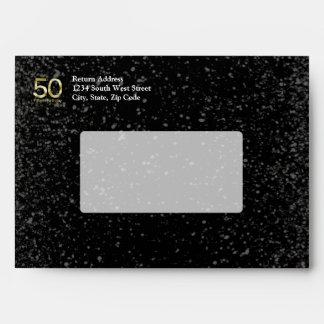 50th Birthday, Elegant Black Gold Glam Envelopes
