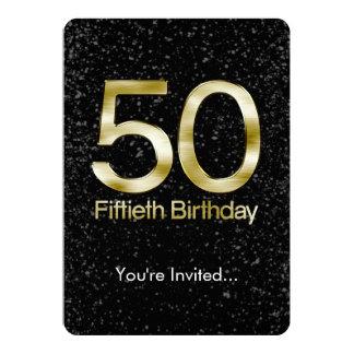 50th Birthday, Elegant Black Gold Glam 5x7 Paper Invitation Card