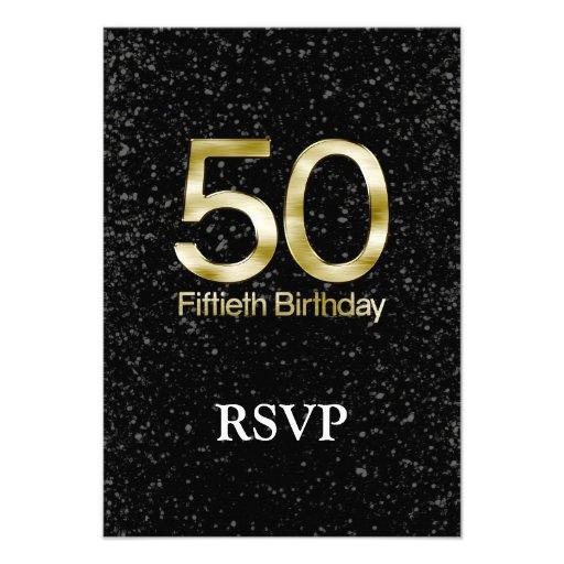 50th Birthday, Elegant Black Gold Glam Custom Invite