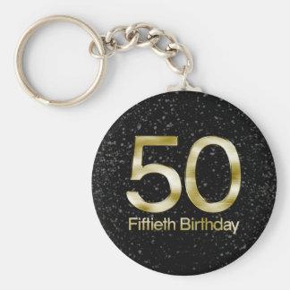 50th Birthday, Elegant Black Gold Glam Keychain