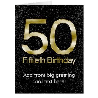 50th Birthday, Elegant Black Gold Glam Large Greeting Card