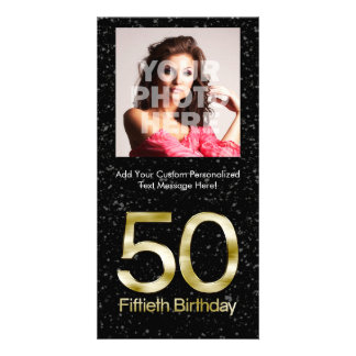 50th Birthday, Elegant Black Gold Glam Photo Greeting Card