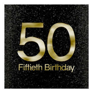 50th Birthday, Elegant Black Gold Glam Poster