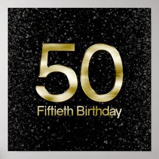 50th Birthday, Elegant Black Gold Glam Poster