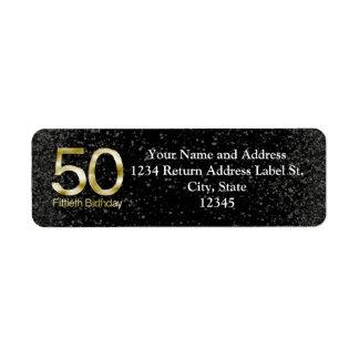 50th Birthday, Elegant Black Gold Glam Return Address Label